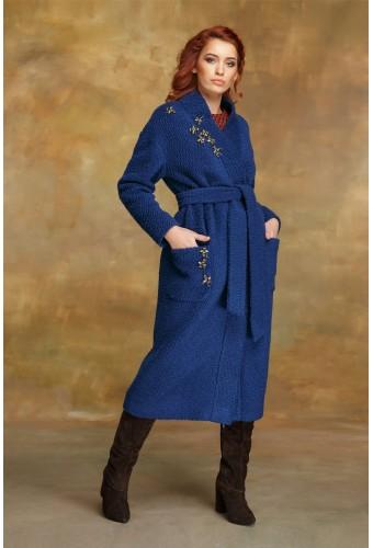 Пальто-халат синее